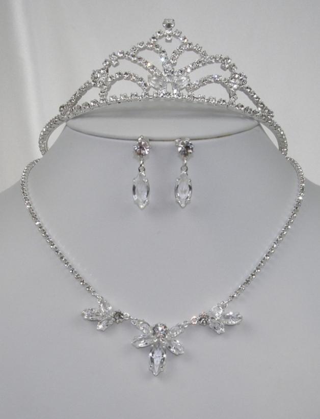 a0452c3021c Souprava se šperky svatební bižuterie - náhrdelník + naušnice s puzetou +  korunka